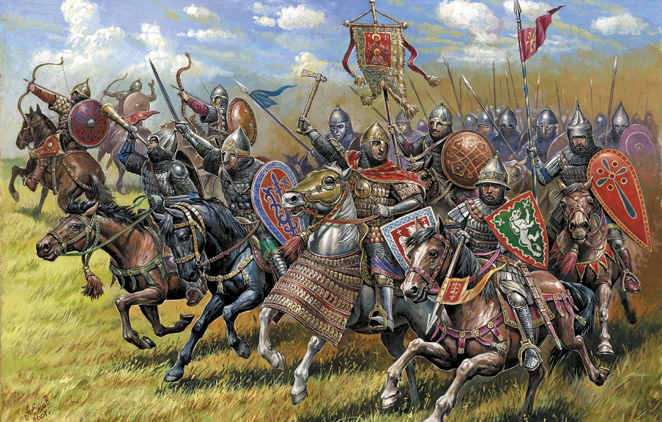 Photo wallpaper art, soldiers, XIII-XIV centuries, owns all kinds of weapons, the core of the cavalry was …