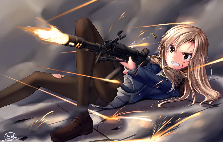Photo wallpaper girl, weapons, anime, shot, art, bullets, schoolgirl, dreadtie