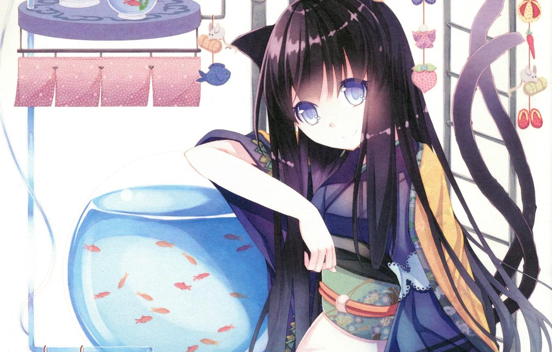 Photo wallpaper fish, aquarium, ladder, girl, tail, kimono, ears, art, suspension, Neko girl, Dead cross