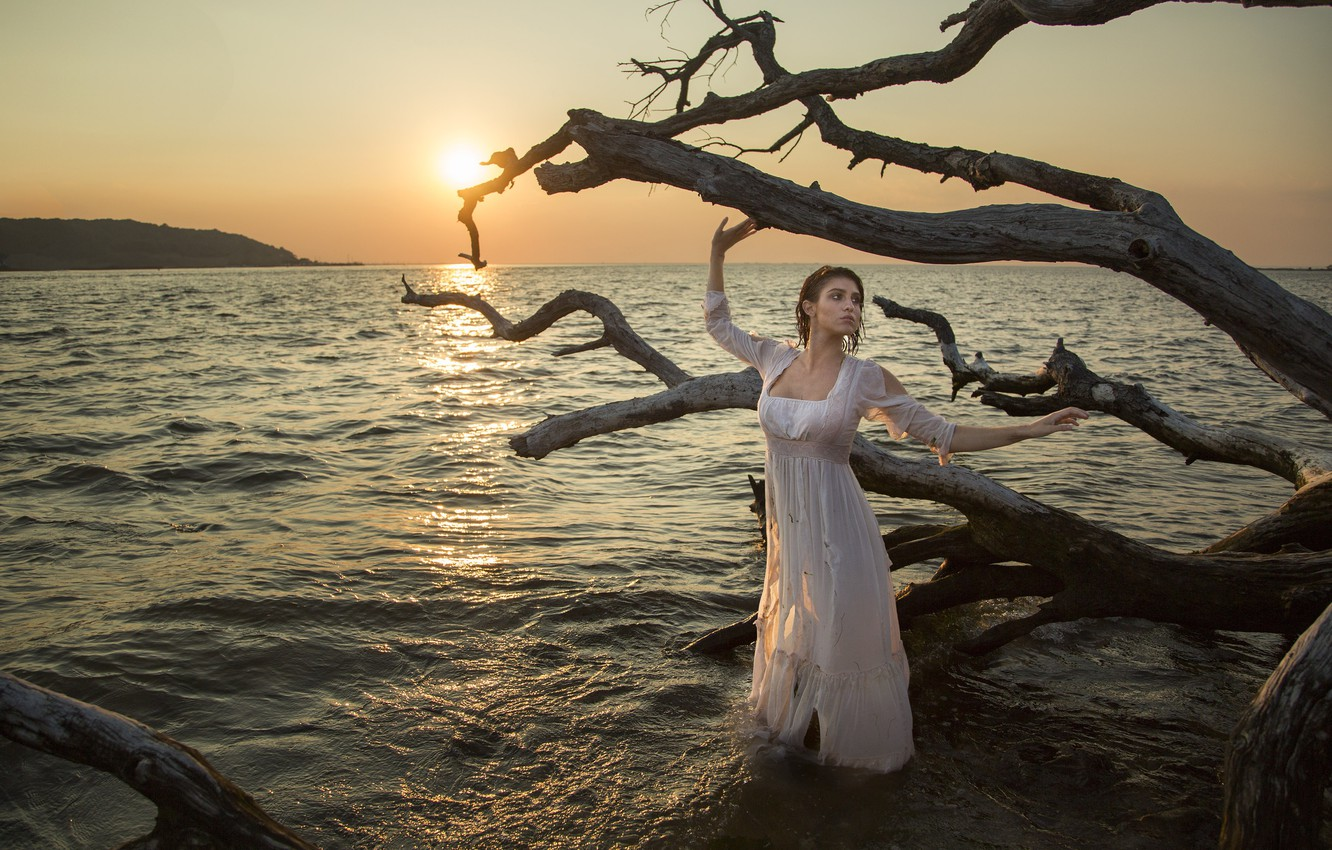 Photo wallpaper sea, girl, sunset, the situation, dress, snag