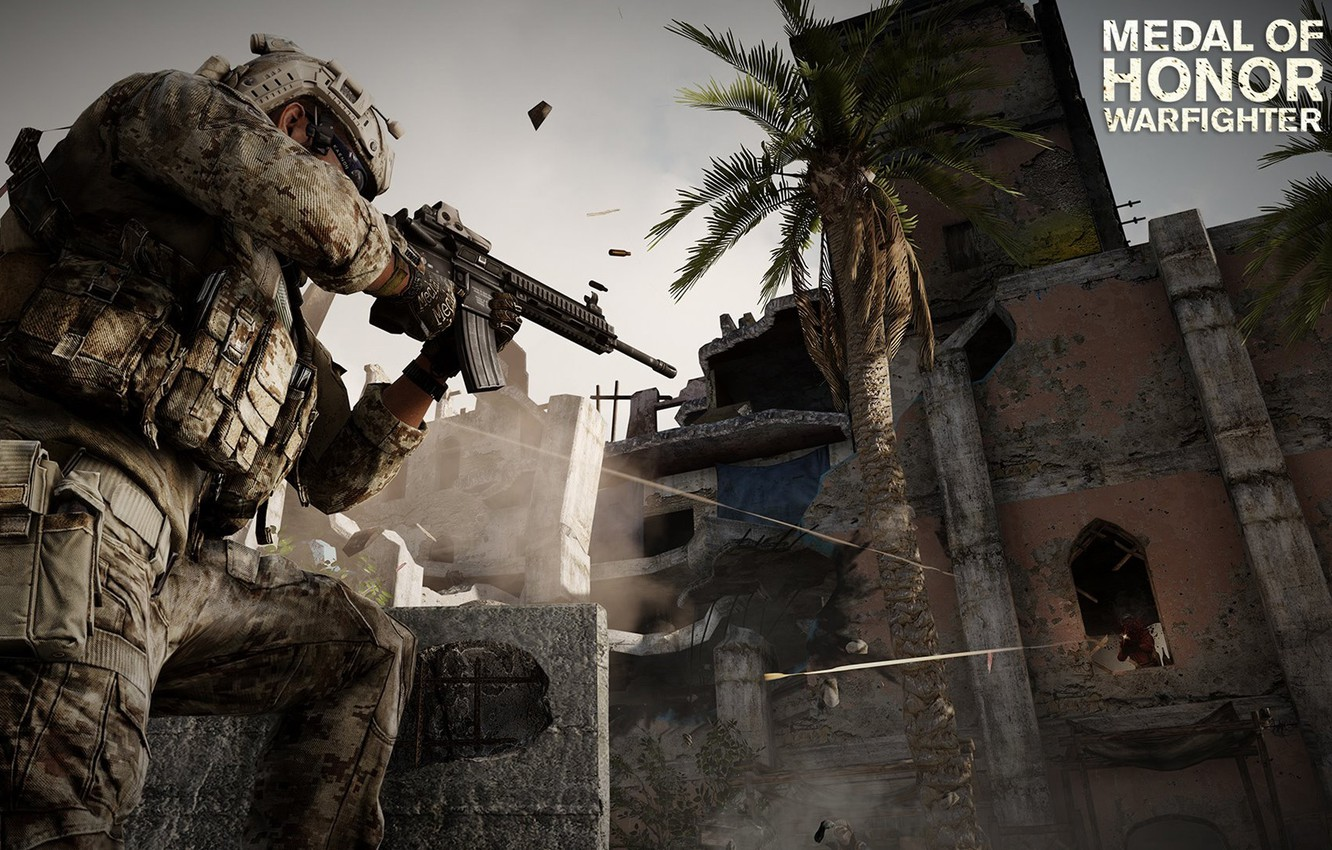 Photo wallpaper battle, soldiers, the ruins, rifle, MoH, warfighter