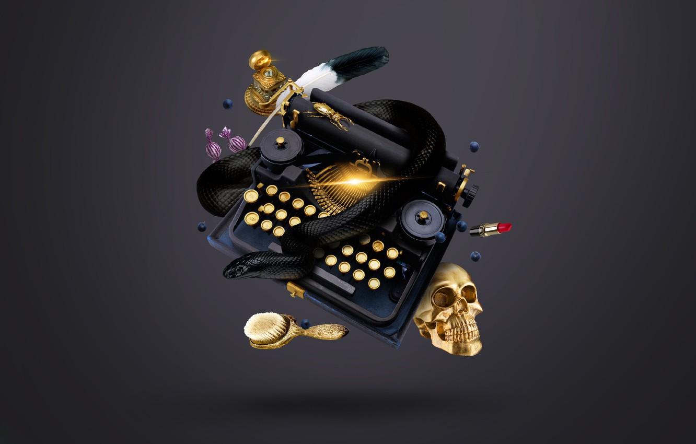 Photo wallpaper gold, pen, skull, snake, beetle, lipstick, blueberries, candy, typewriter, sake, witch, gold, snake, ink, beetle, …