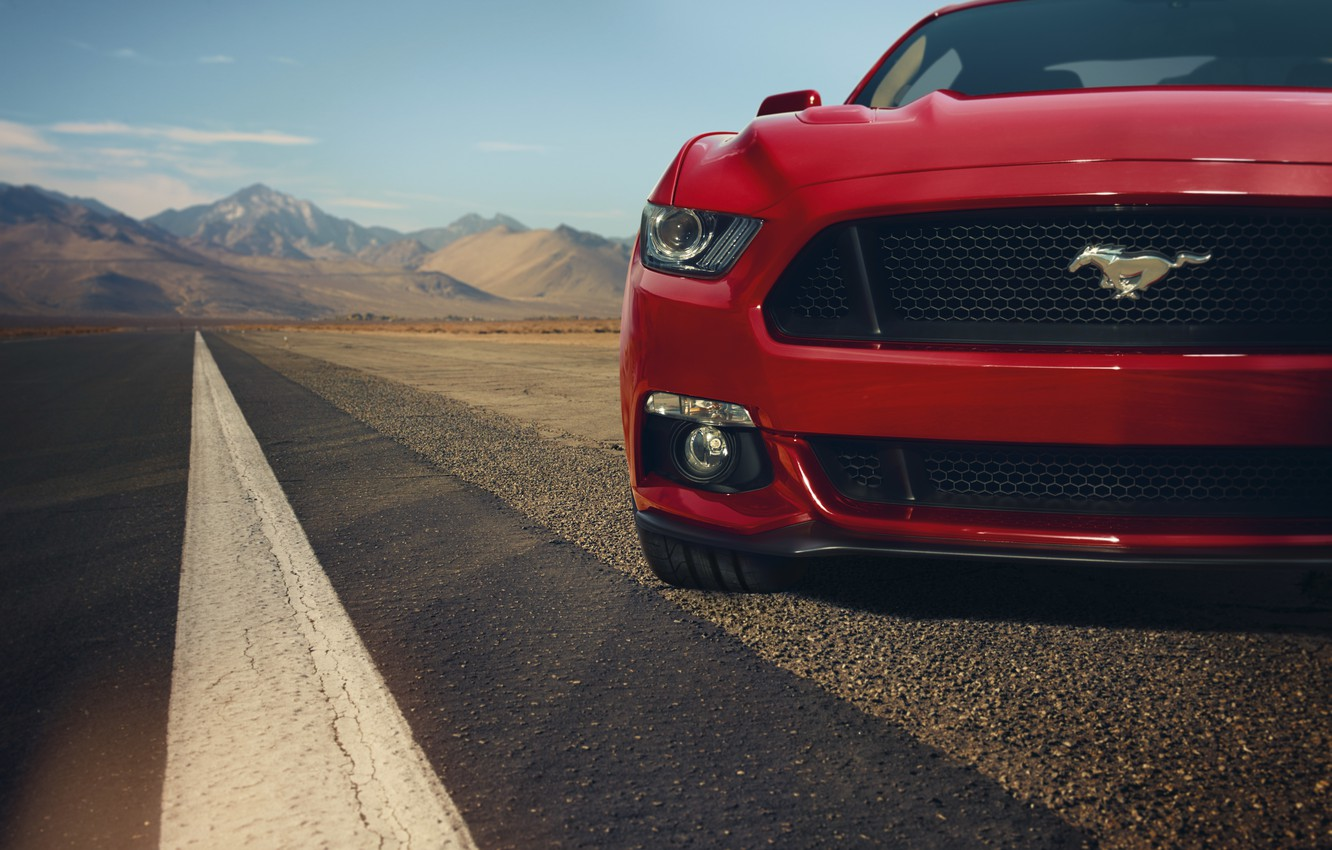 Photo wallpaper red, Mustang, Ford, Mustang, before, red, muscle car, Ford, muscle car, front