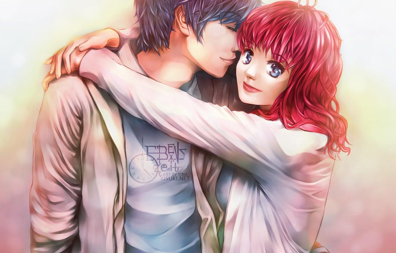 Photo wallpaper eyes, girl, love, the inscription, Mike, guy, hugs, red hair, Life