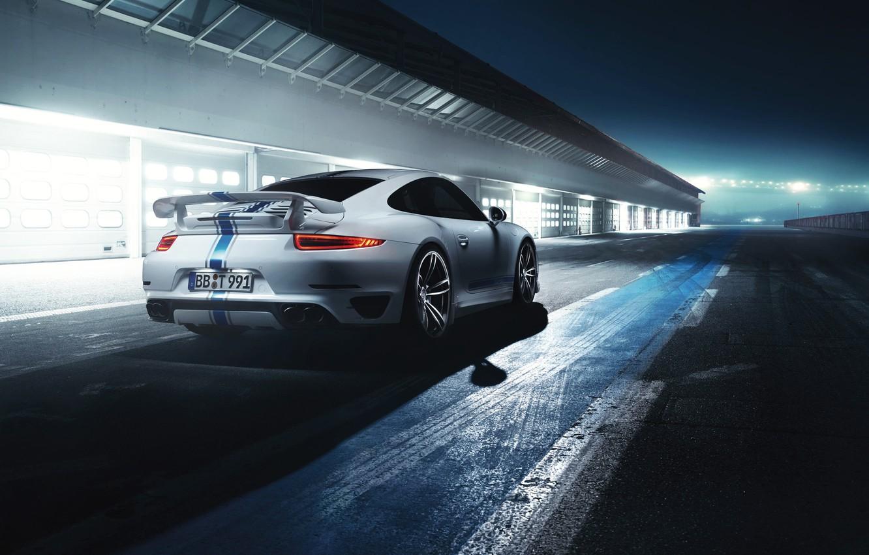 Photo wallpaper Auto, Night, White, 911, Porsche, Machine, Light, Supercar, Turbo, Track, Sports car, Rear view, by …