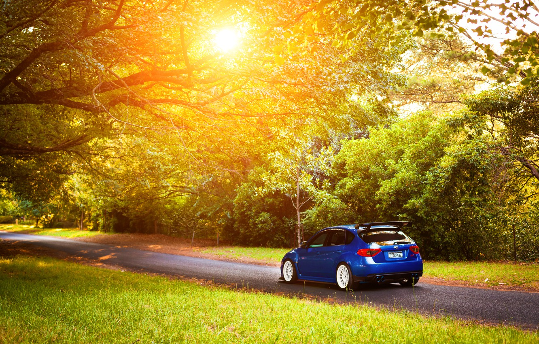 Photo wallpaper Subaru, Impreza, STI, blue, Subaru, Impreza