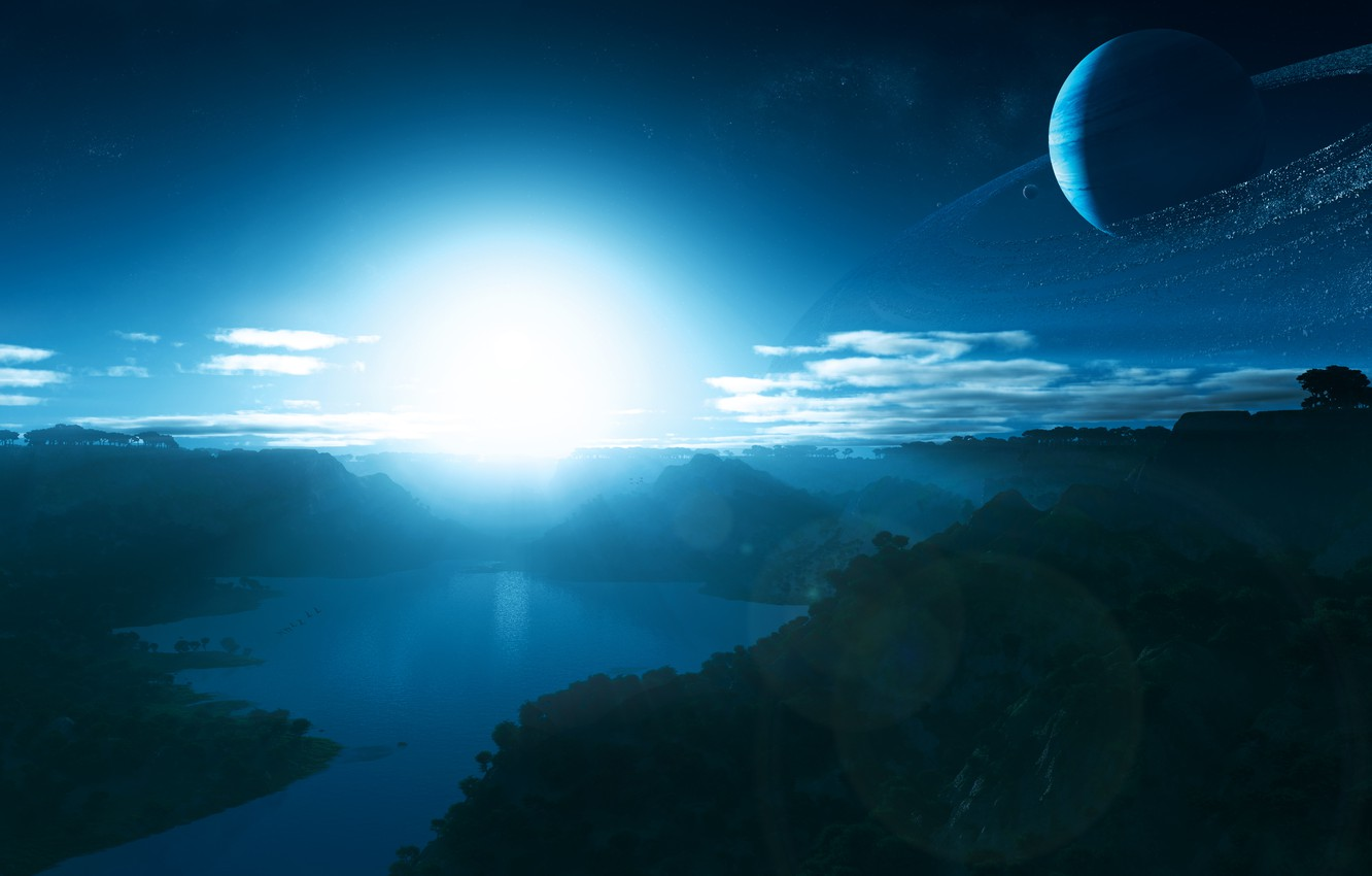Photo wallpaper the sky, water, surface, light, trees, mountains, life, glare, sunrise, dawn, star, ring, morning, the …