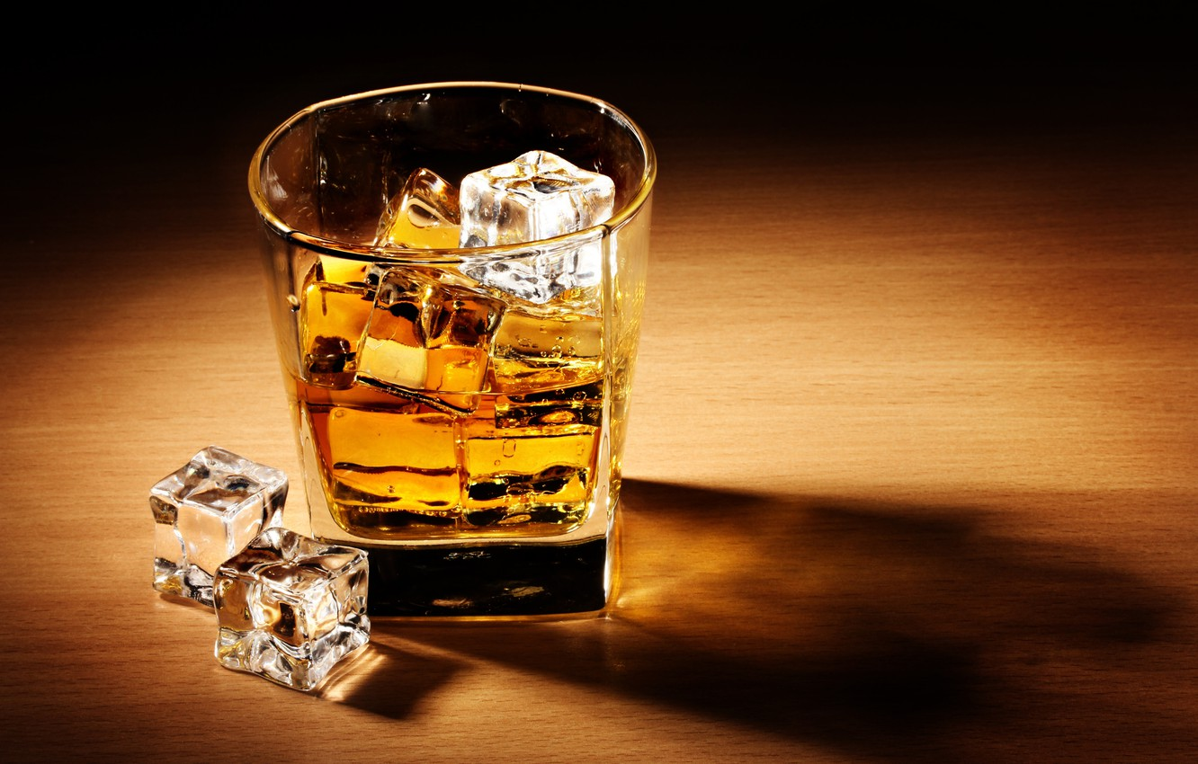 Photo wallpaper ice, table, cubes, glass, shadow, alcohol, drink, whiskey