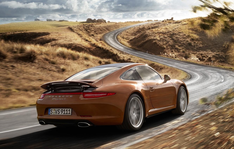 Photo wallpaper road, the sky, hills, coupe, 911, Porsche, supercar, Porsche, brown, rear view, coupe, Carrera, carrera …