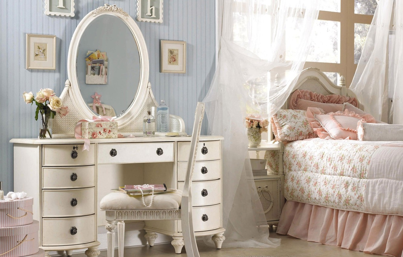 Photo wallpaper pink, pillow, mirror, pictures, bedroom, chest, ruffles