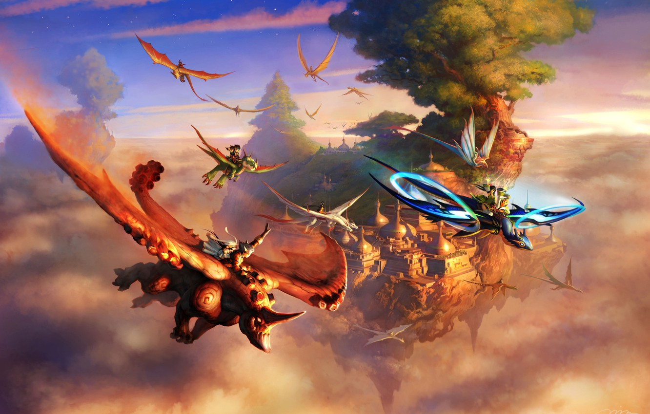 Photo wallpaper clouds, flight, the city, rock, tree, dragons, fantasy, art, creatures, riders, Rhino, riders, in the …