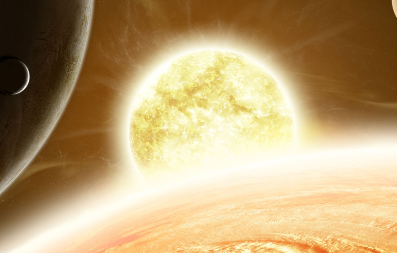 Photo wallpaper the sun, space, planet