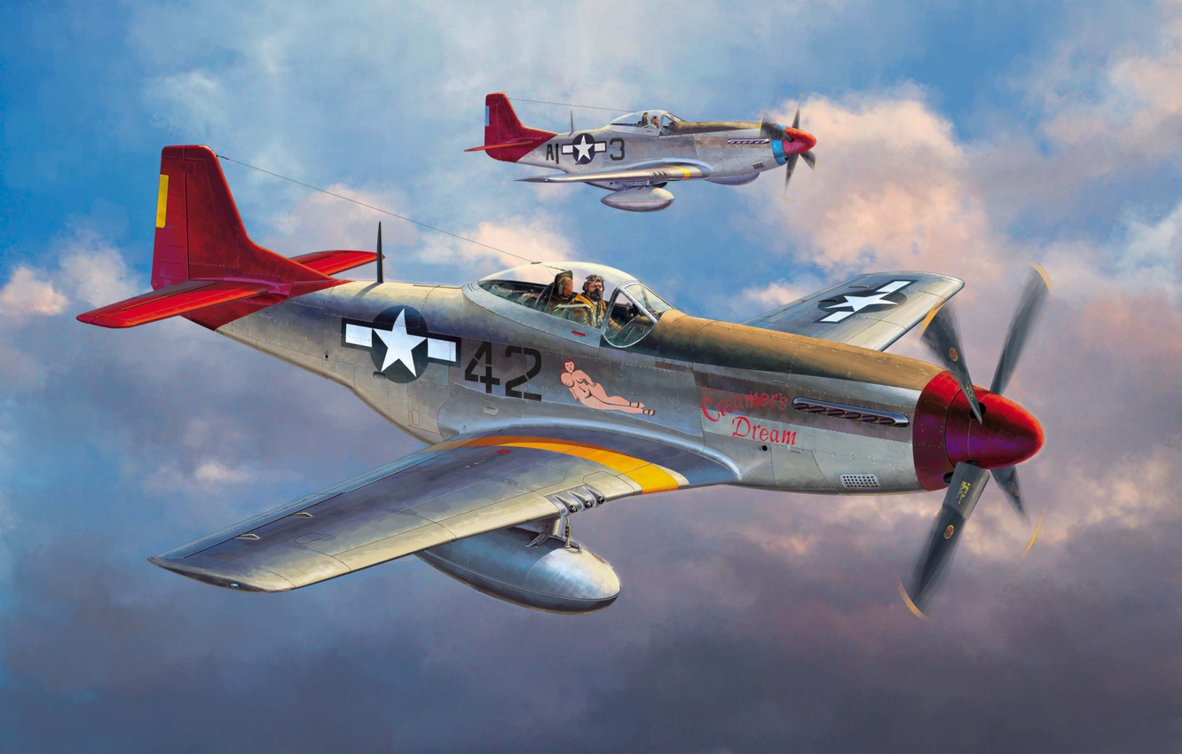 Wallpaper War Art Painting Aviation Ww2 P 51 D Mustang Images