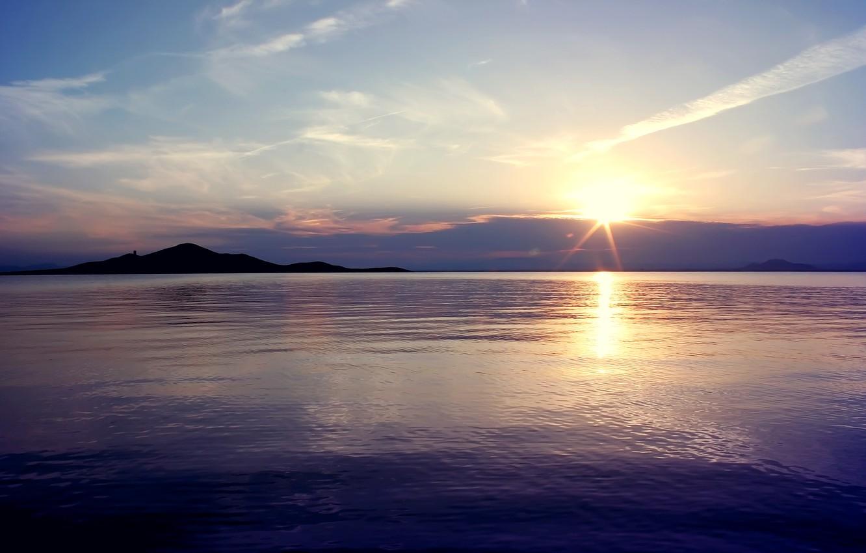 Photo wallpaper sunset, nature, lake, surface, shore