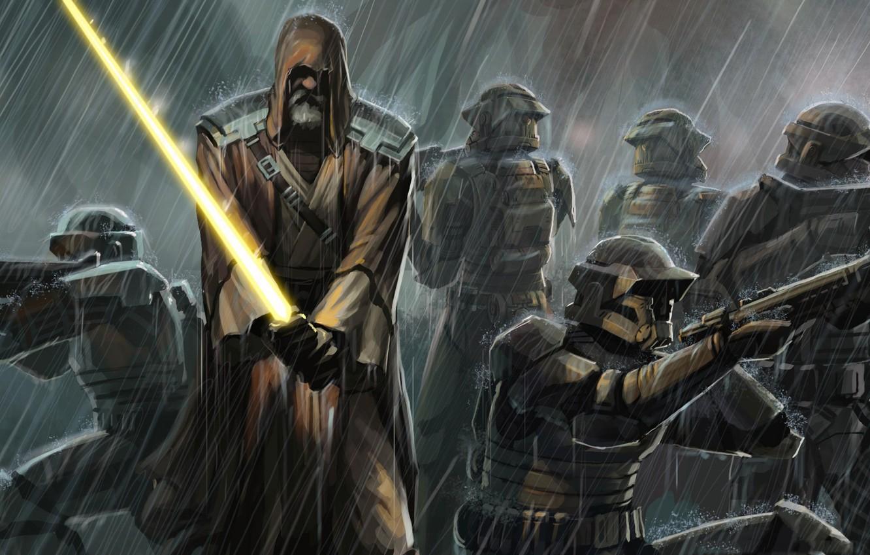 Photo wallpaper rain, sword, Star Wars, Jedi, clones