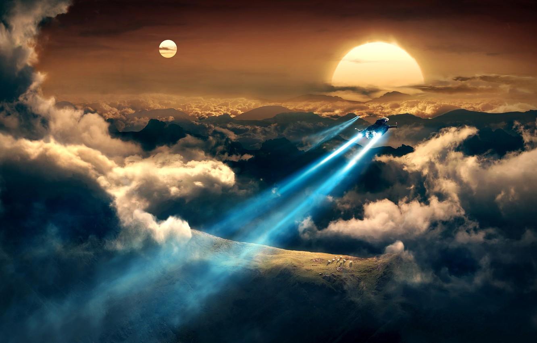 Photo wallpaper space, planet, trajectory, train, fantasy, art, flying, flight, starships, forward.