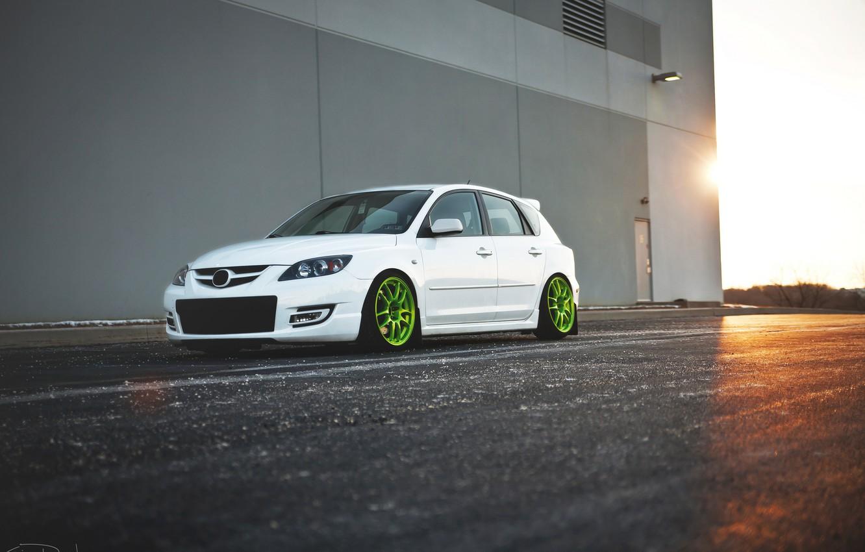 Photo wallpaper white, Speed, Mazda 3, tuning, Mazda