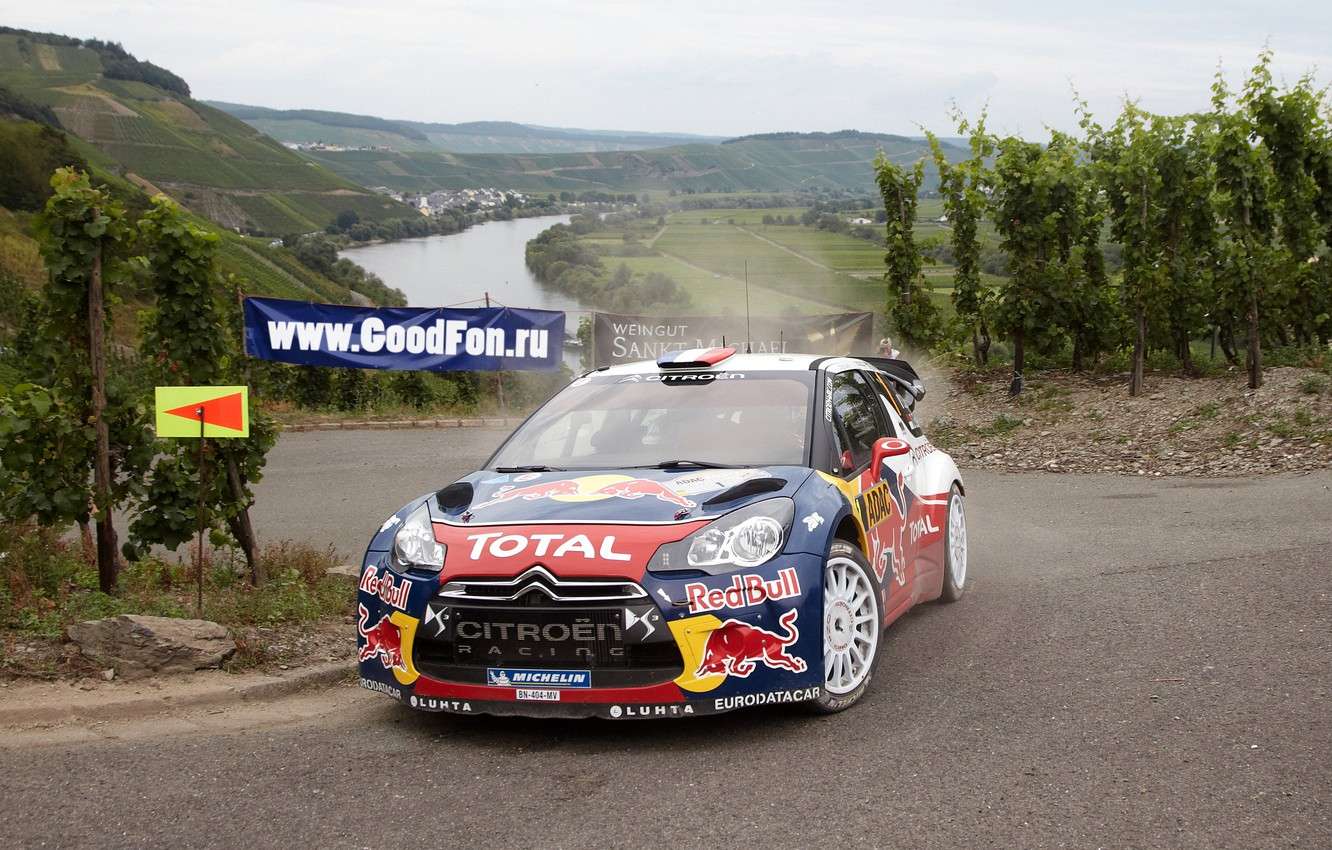 Photo wallpaper Road, Machine, Citroen, River, Red Bull, DS3, Rally, The front, Total