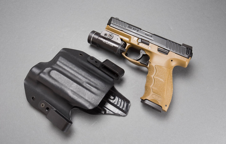 Photo wallpaper background, flashlight, Heckler & Koch, self-loading pistol, 9 mm, VP9