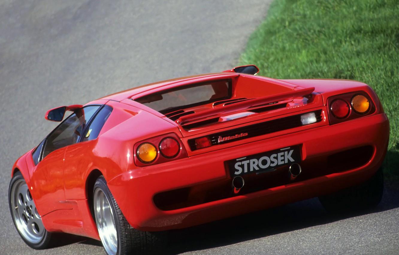 Photo wallpaper lamborghini, red, rear view, diablo, Lamborghini, strosek