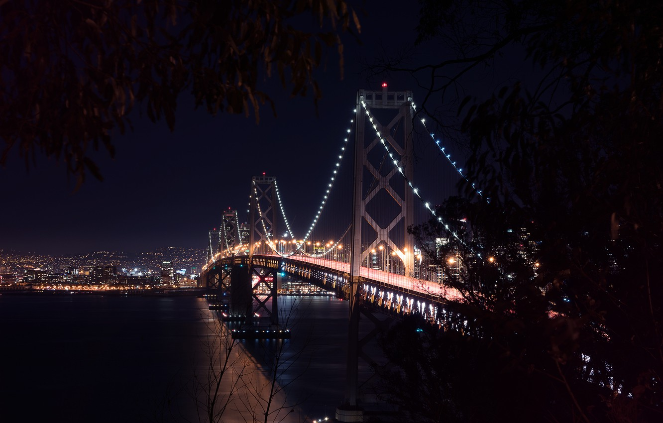 Photo wallpaper City, Landscape, Bay Bridge, Architecture, San-Francisco, West, Nigth, Scape