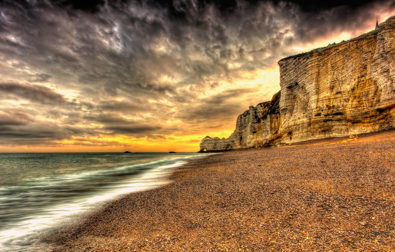 Photo wallpaper sand, sea, beach, the sky, the sun, clouds, landscape, sunset, nature, the ocean, rocks, dawn, …