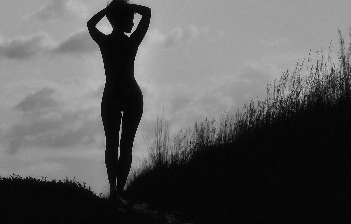 Photo wallpaper BODY, GRASS, The SKY, CLOUDS, FORM, SLOPE, SHADOWS, SILHOUETTE, LINE, CURVES