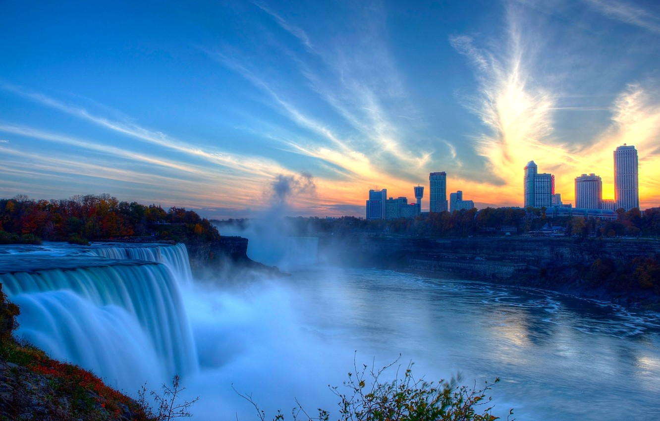 Photo wallpaper the sky, sunset, squirt, river, home, Niagara falls
