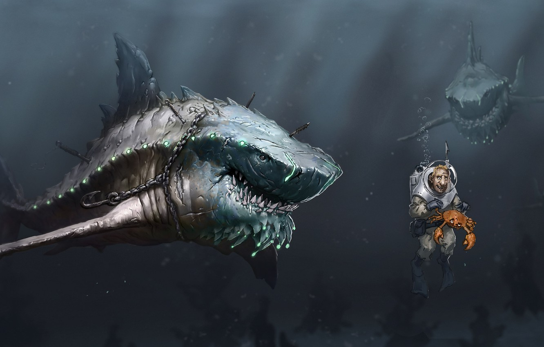 Photo wallpaper sea, people, crab, predators, art, chain, sharks, under water, hunger, hook, scuba, Megalodon