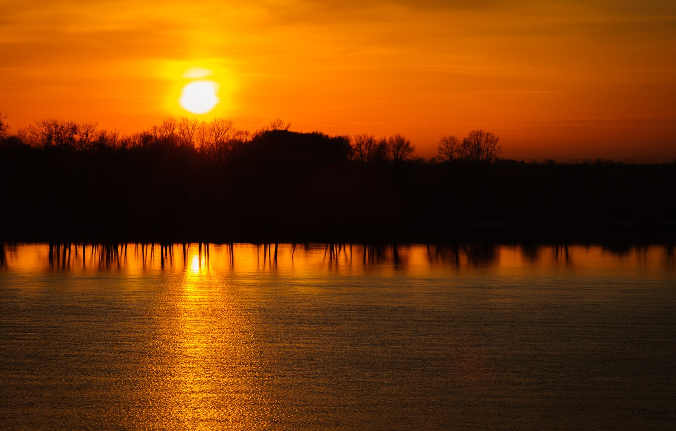 Photo wallpaper the sky, water, the sun, trees, sunset, yellow, reflection, river