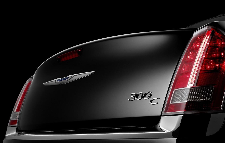 Photo wallpaper glare, black, logo, Chrysler, curves, Chrysler, 2011, Series, 300C