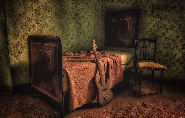 Photo wallpaper room, guitar, bed