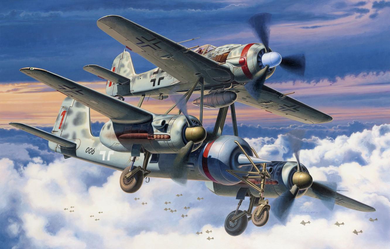 Photo wallpaper war, art, airplanes, painting, aviation, ww2, fw 190, Mistel, ju 88