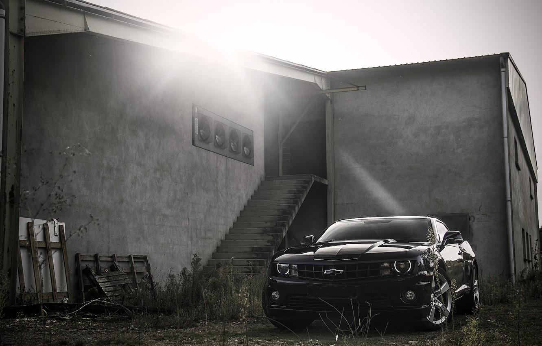 Photo wallpaper black, the building, steps, Chevrolet, black, Blik, camaro, chevrolet, Camaro