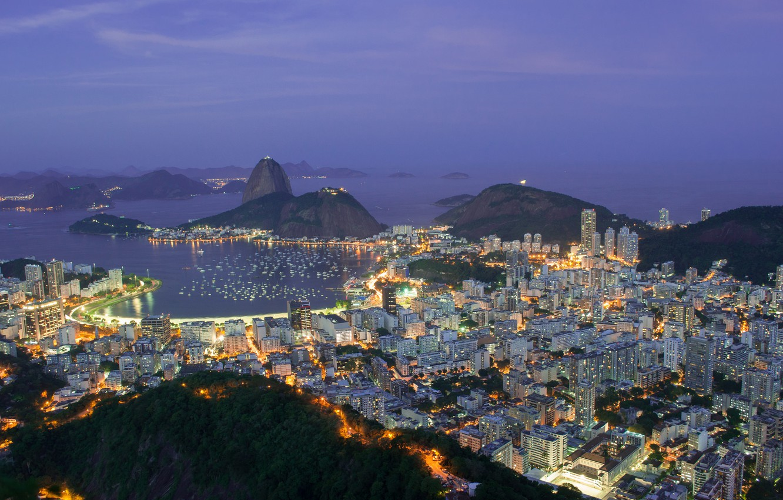 Photo wallpaper mountains, city, the city, lights, lights, hills, coast, view, height, the evening, lighting, panorama, Brazil, …
