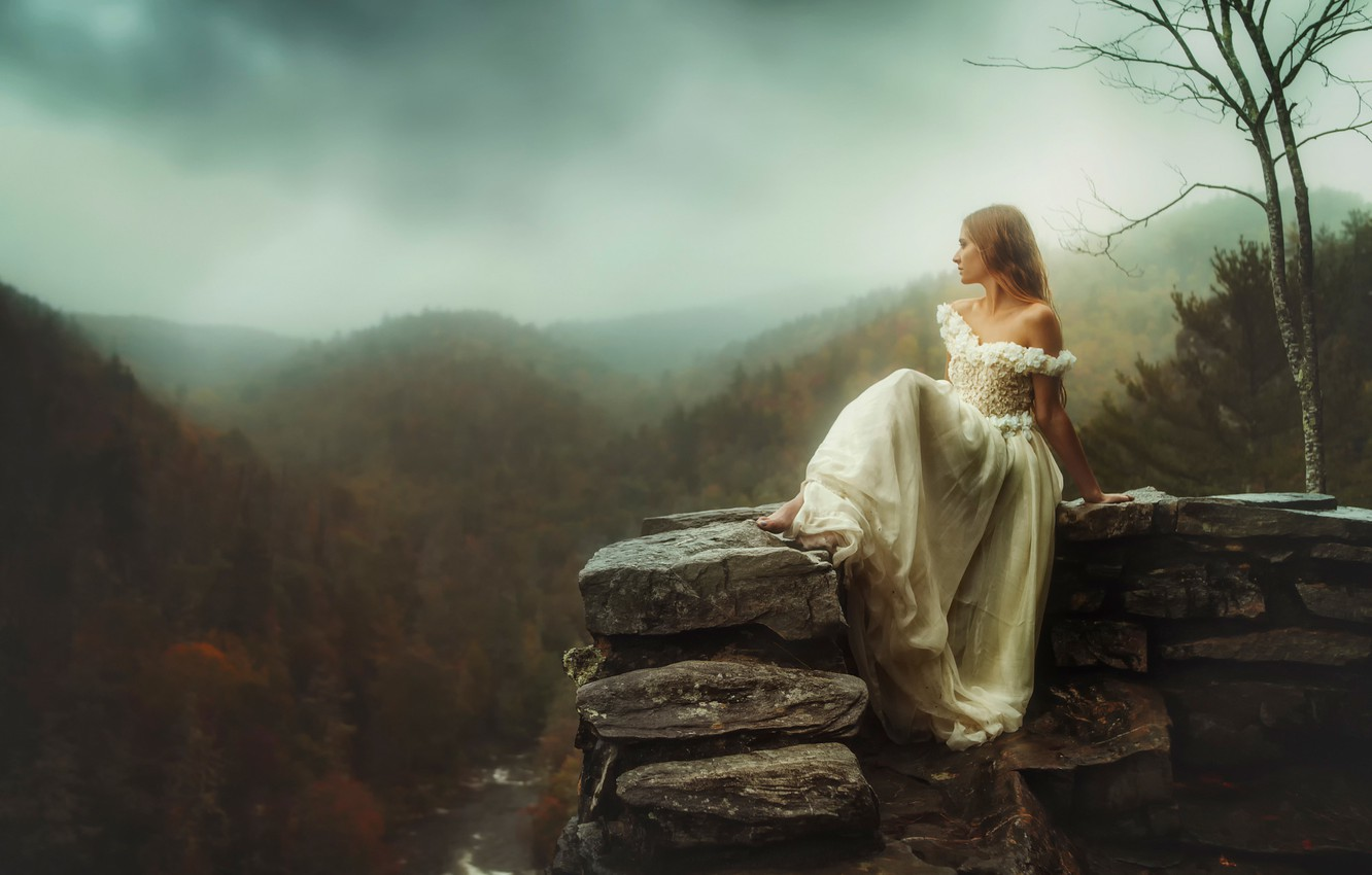 Photo wallpaper autumn, girl, river, stone, height, TJ Drysdale, Stay