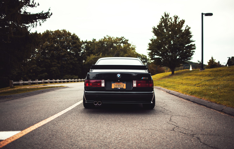 Photo wallpaper road, black, tuning, BMW, BMW, black, tuning, E30