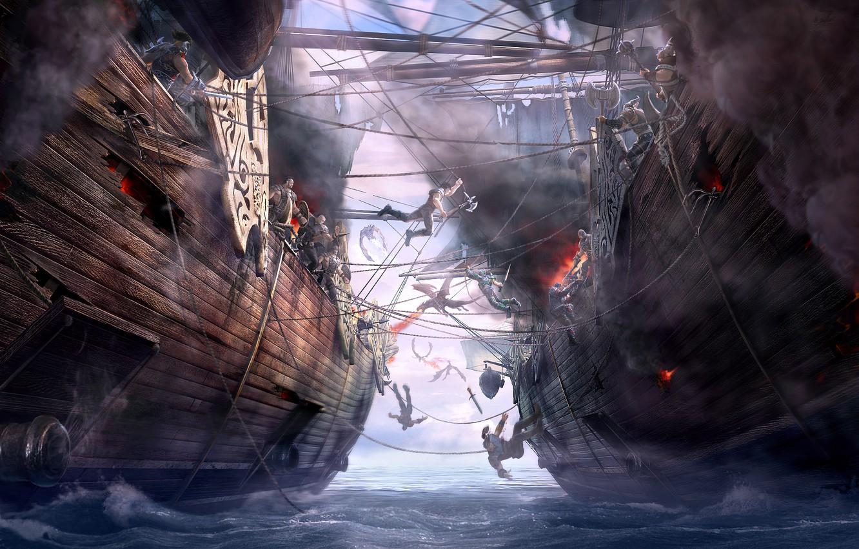 Wallpaper Sea Ships Art Battle Dragon Eternity Board Dragons Of Eternity Naval Battle Images For Desktop Section Fantastika Download