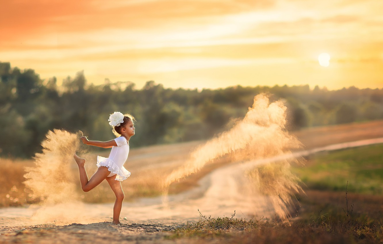 Photo wallpaper sand, dust, girl, Dancing with dust