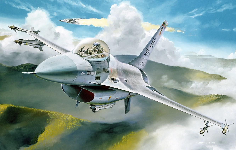 Photo wallpaper aviation, the plane, figure, fighter, F-16, F-16