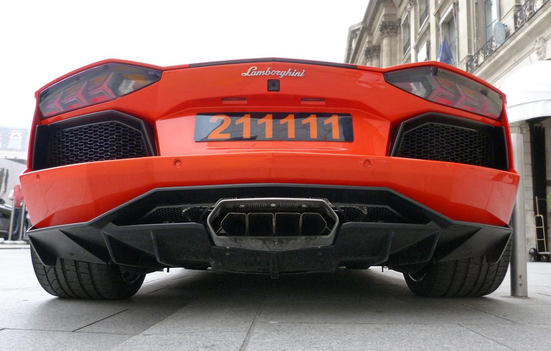 Photo wallpaper orange, lamborghini, orange, back, aventador, lp700-4, Lamborghini, aventador, exhaust pipe