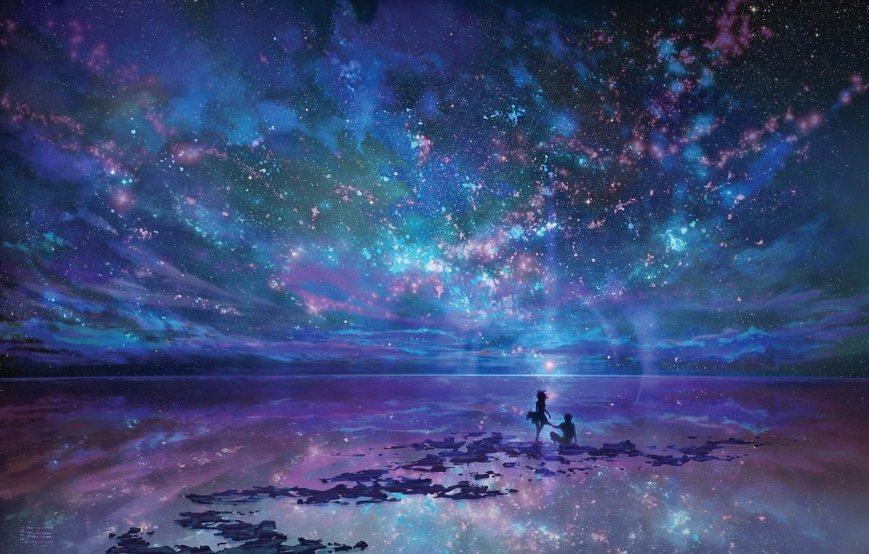 Photo wallpaper the sky, girl, night, the ocean, art, pair, guy