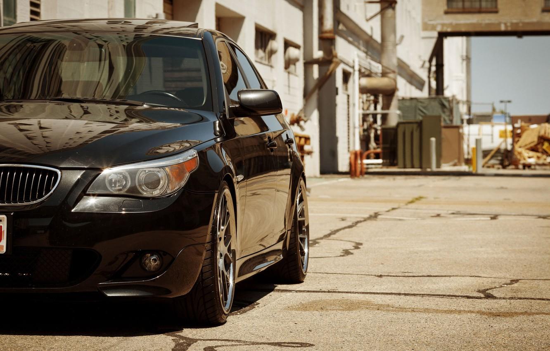 Photo wallpaper black, BMW, BMW, black, the front part, E60, 5 Series