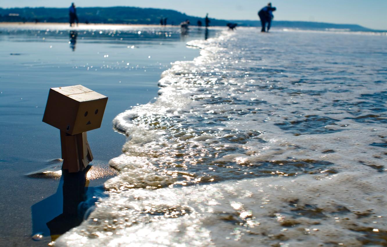 Photo wallpaper beach, shore, danbo, tide, box