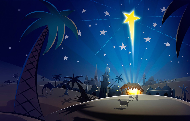 Photo wallpaper star, vector, Christmas, East, postcard