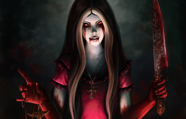 Photo wallpaper blood, Alice, knife, Alice Madness Returns