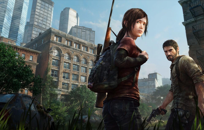 Photo wallpaper Girl, Man, Postapokalipsis, Ellie, PS3, Joel, Naughty Dog, Some of us, Joel, Ellie, PS4, The …