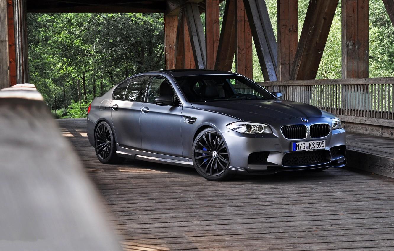 Photo wallpaper bridge, BMW, BMW, support, front view, f10, matte grey, matte grey