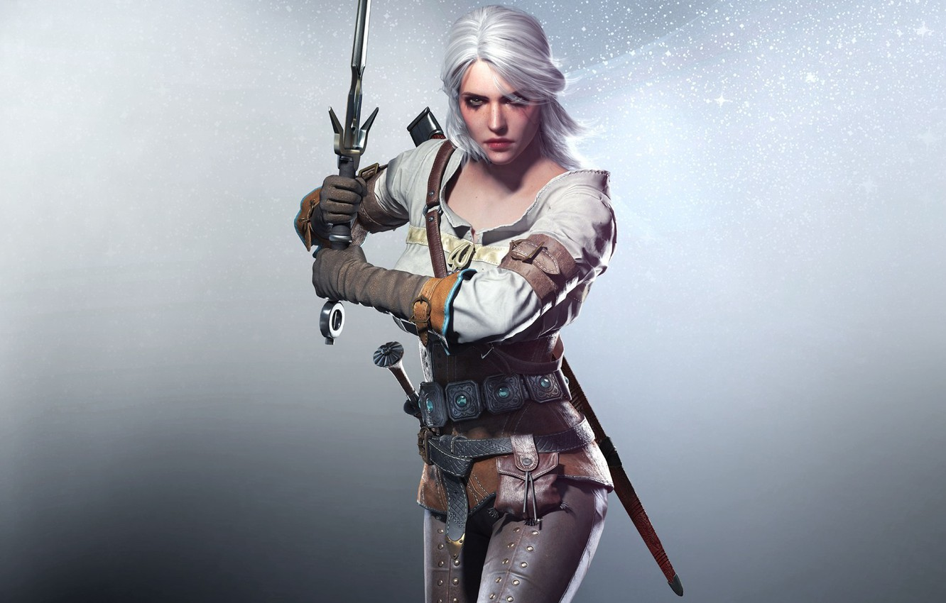 Photo wallpaper Girl, Look, Sword, The Witcher, Scar, CD Projekt RED, The Witcher 3: Wild Hunt, The …