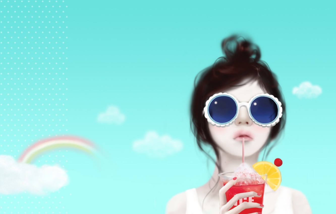 Photo wallpaper the sky, girl, clouds, reverie, lemon, rainbow, cocktail, tube, hairstyle, Enakei, sunglasses
